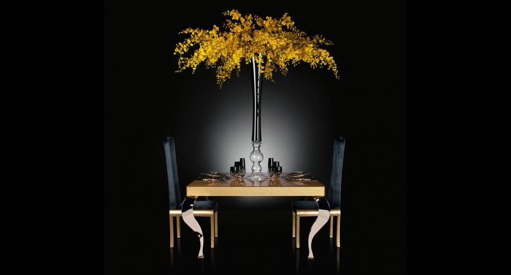 Flower Set Arrangement Sayonara, Black Vase and Yellow Flowers, Italy_4