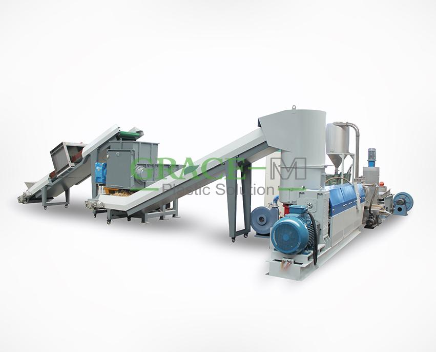 PE/PP films, shopping and woven bags, waste fibers granulation line_2