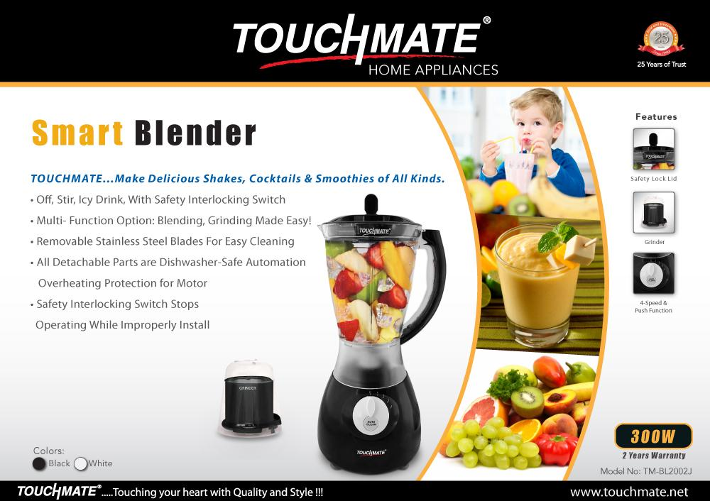 TOUCHMATE Smart Blender with Grinder - 300W, Multi-Function Option: Blending, Grinding Made Easy, White (TM-BL2002JW)_4