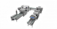 Semi-automatic production line for cakes and muffin