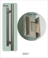 GH001(stainless steel glass door handle+ stainless steel look hinges)