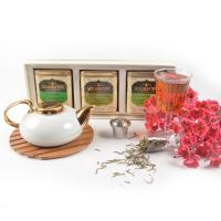 Seasons gift box pack roseherb-peach and jasmine-all green tea-in can-3x100g