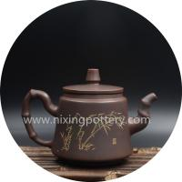 Kung Fu Teapot Bamboo Carving Pure Handmade Tea Pot