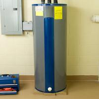 Storage water heater with internal special flat tube registers for heating water operation