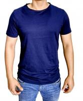 Color swing mens roll edge neck t-shirt