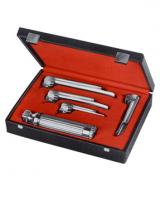 Fiber optic larngoscope set handle with 4 blades