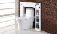 Toilet storage cabinet drop door spacesaver bathroom white