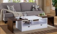 Shea modern dark walnut and white coffee table