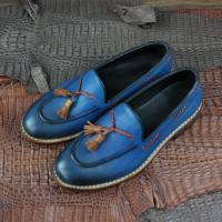 Men goodyear slip on loafers shoes genuine leather