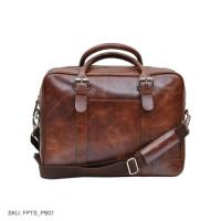 Buff leather vintage tan  - laptop bag