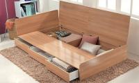 Three-drawer storage bed with optional mattress