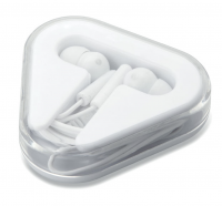 Earphones in a triangular ps case