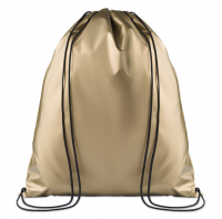 Drawstring bag in 190t polyester with coating on surface.