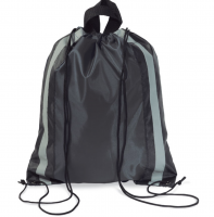 Drawstring bag in 190t polyester with reflective sides and short handles.