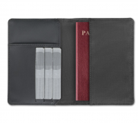 Rfid blocking wallet/passport holder in 2-tone polyester.