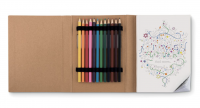 Dult drawing book with 12 coloured pencils