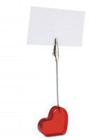 Heart shaped desk clip with red translucent