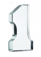 Number one shaped trophy made in glass