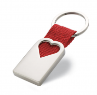 Metal Key Ring in Matt Pearl Finish in Hollow Heart Shape