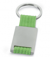 Metal Rectangular Key Ring with Coloured Polyester Webbing