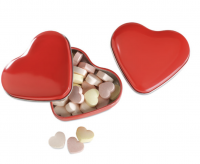 24 gr sweet heart shaped candies in heart shaped tin box