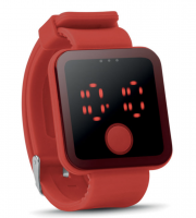 Red led watch with silicone strap presented in box