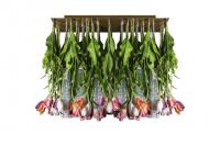 Flower power tulip chandelier, muranese glass and artificial flowers, italy