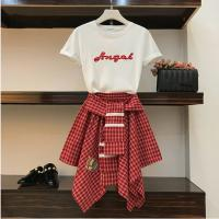 Patwo pieces set women's cotton t shirt and strap plaid skirt
