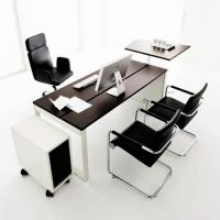 4 person white office desk