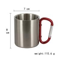 8oz silver stainless steel mug with red carabineer handle