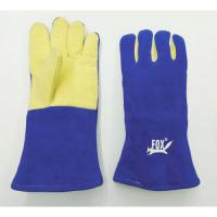 Para-Aramid Palm/Blue HR Leather Gauntlets