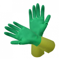 Gyfl2 – bi-colour natural rubber flocklined gloves