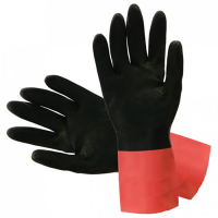 Brfl2 – bi-colour natural rubber flocklined gloves