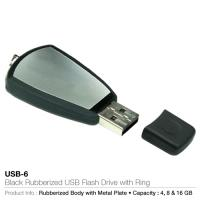 Black rubberized usb flash drive with ring  (usb-6)