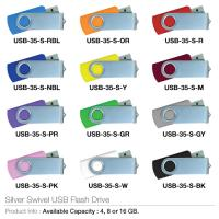Silver swivel usb flash drive