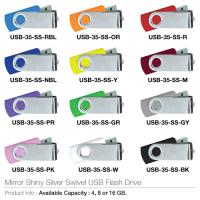 Mirorr Shining SilverSwivel USB Flash Drive- USB-35-SS