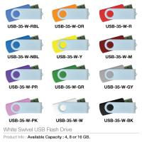 White Swivel USB Flash Drive- USB-35-W