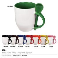 11oz Two Tone Mug with Spoon (170)
