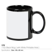 11oz Black Mug- With White Printable Area - 172