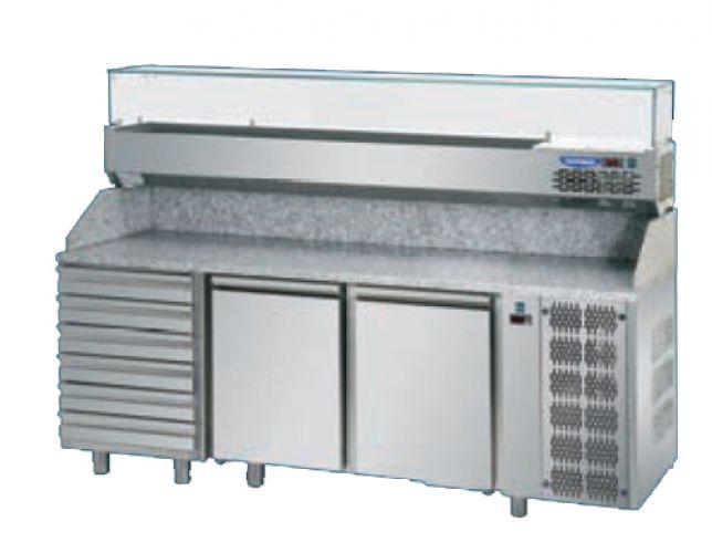 Pizza counter 2 door eko line with 6 pz03ekoc6 1660x800x1200