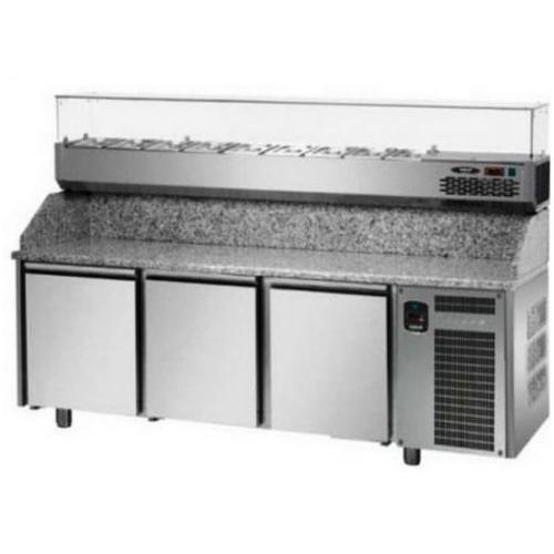 Pizza counter 3 door eko line with 6 pz04ekoc6 2090x800x1200