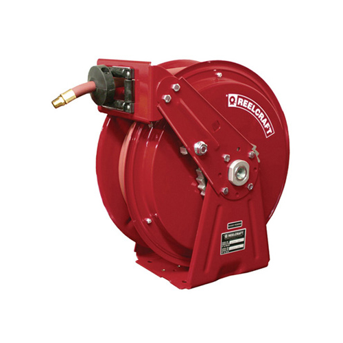 "Compact dual pedestal hose reels (series dp5000 & dp7000)   series dp5000 & dp7000 - 1/4"", 3/8"", 1/2"" i.d spring driven air / water / oil / grease"