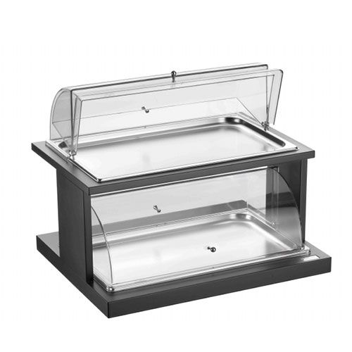 Double deck rectangular trays with covers for pastries 51131055