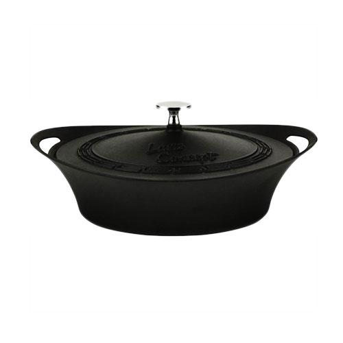 Cast iron concept round shallow casserole -w/ cast iron lid - lv cp stc 24 k5