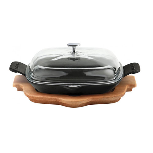 Cast iron frying/grill pan integral metal handles and wooden platter - lv eco p tv 2626 k4