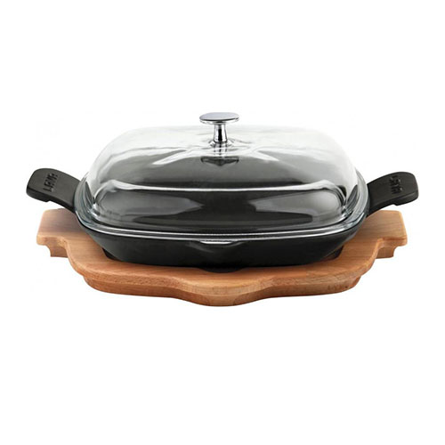 Cast iron frying/grill pan integral metal handles, glass lid and wooden platter - lv eco p tv 2626 k44