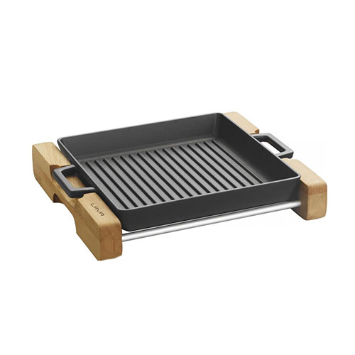 Cast iron griddle/grill duo pan integral metal handles and wooden service stand - lv eco gt 2632 t4 k4
