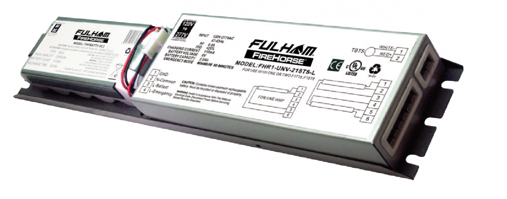 Fhr1-unv-218t8-l combination ac-emergency ballast
