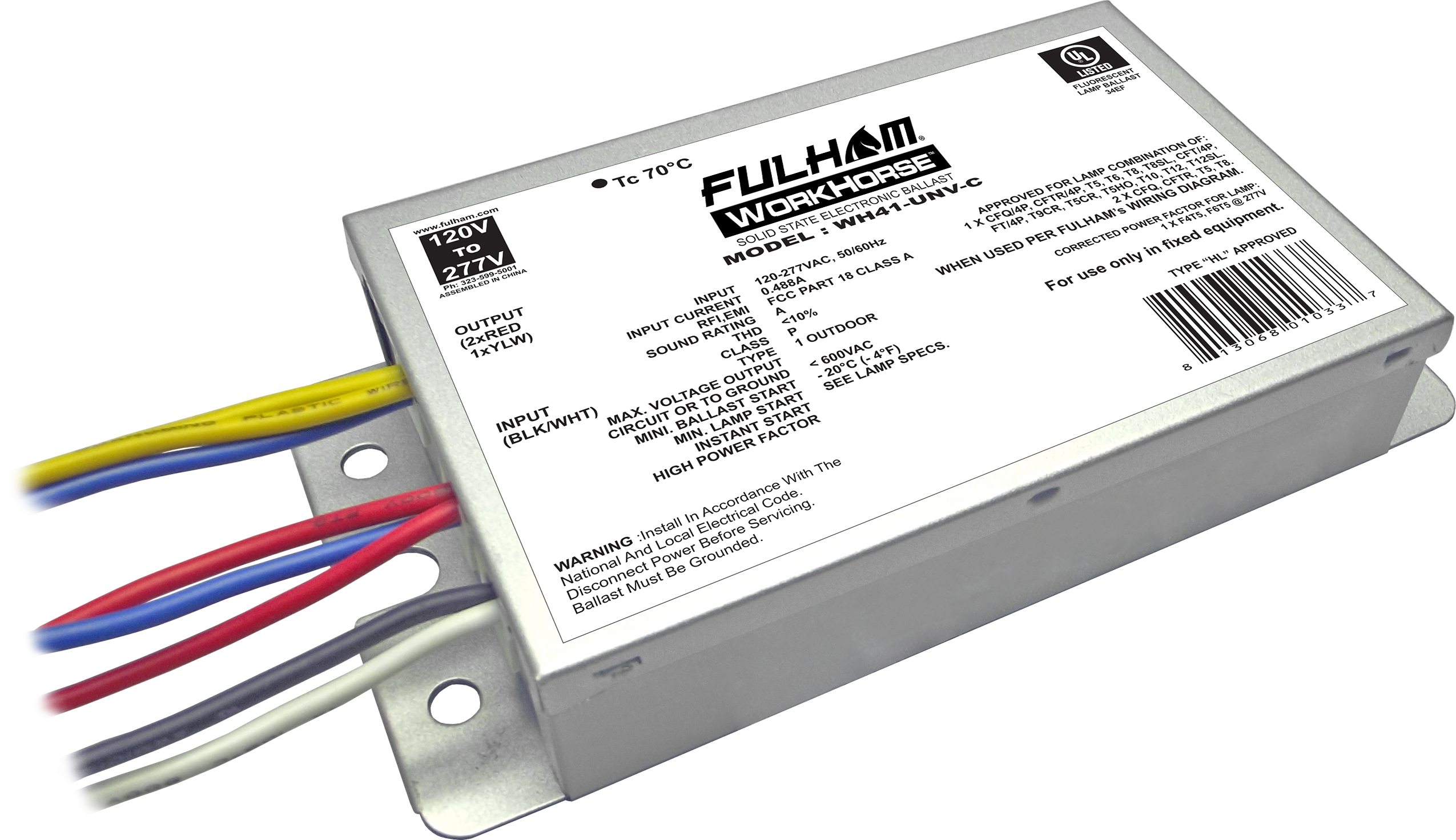 Workhorse universal voltage fluorescent ballasts wh41-unv-c