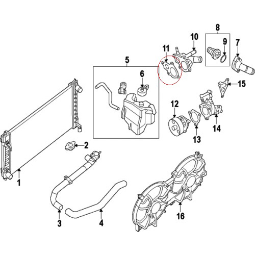 Nissan 11062-3Z000 Water Outlet Gasket_3